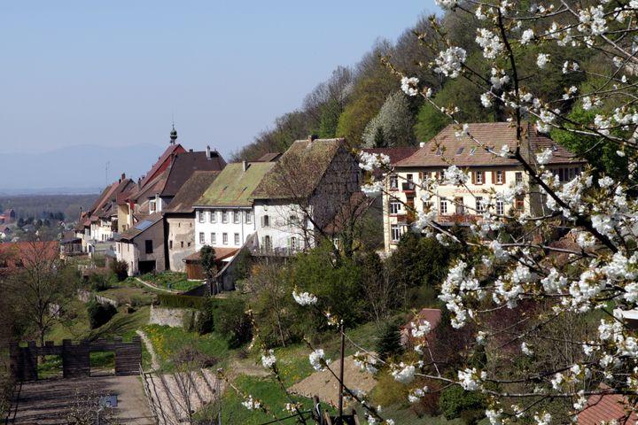 Vue de Ferrette depuis le Felseneck
